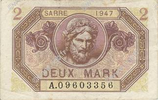 2 Mark SARRE FRANCE  1947 VF.45.01 TTB