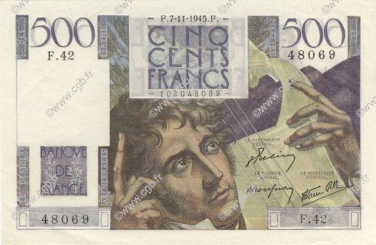 500 Francs CHATEAUBRIAND FRANCE  1945 F.34.03 SPL+