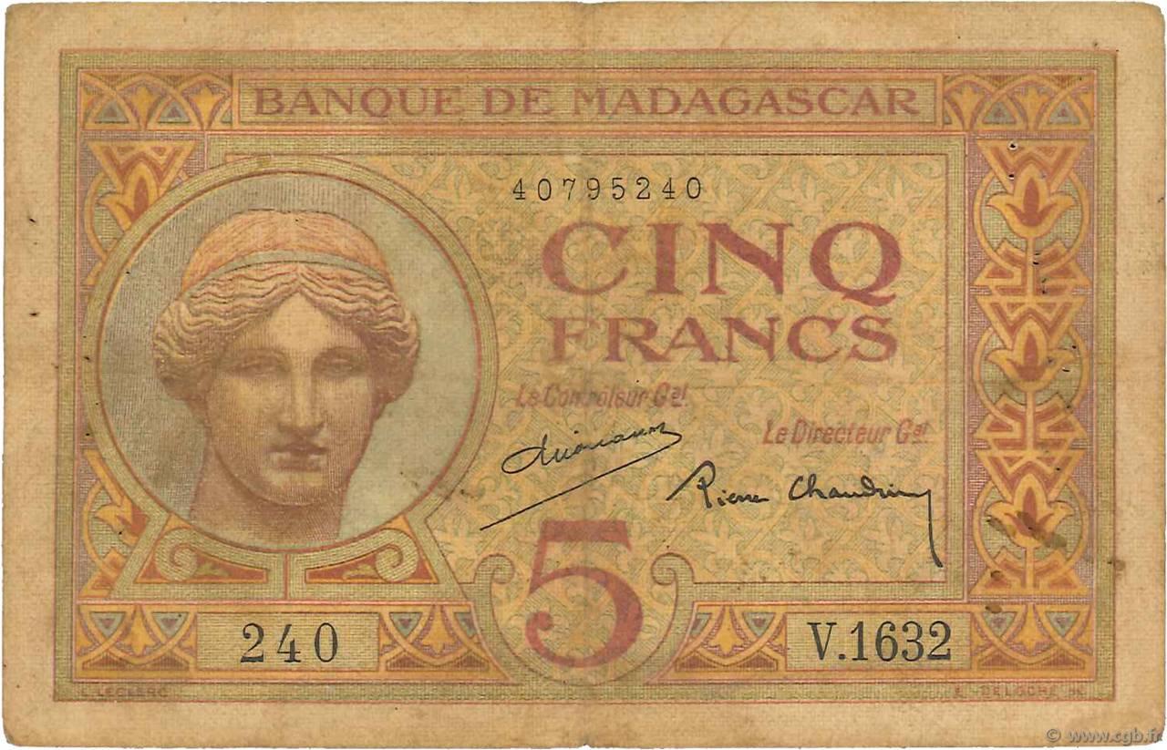 5 francs madagascar 1937 b48 0007 billets. Black Bedroom Furniture Sets. Home Design Ideas