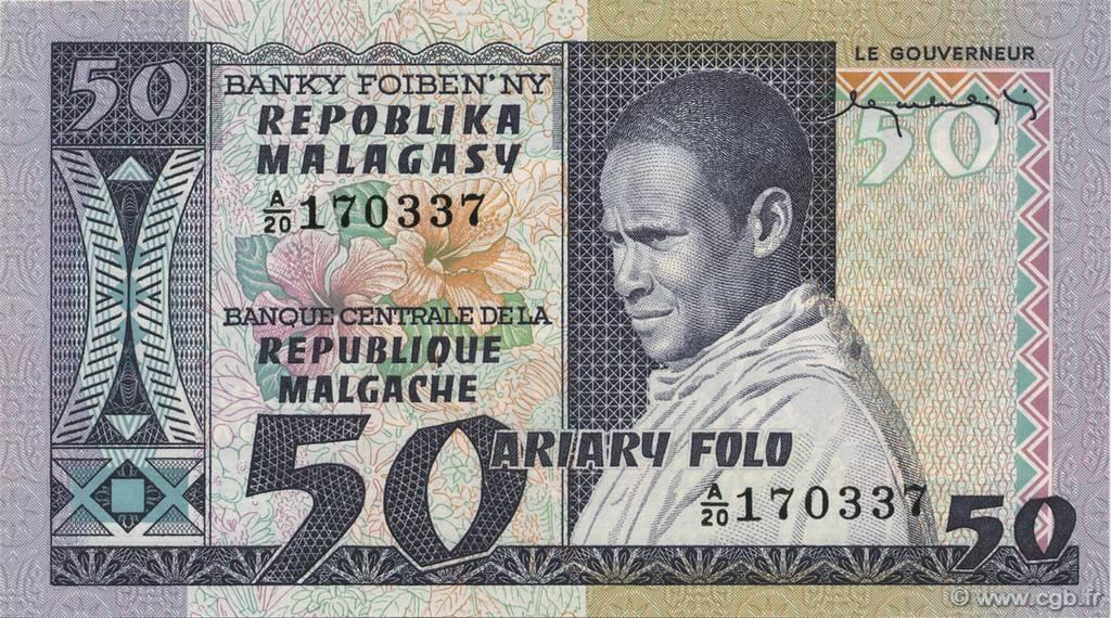 50 francs 10 ariary madagascar 1974 b48 0178 billets. Black Bedroom Furniture Sets. Home Design Ideas