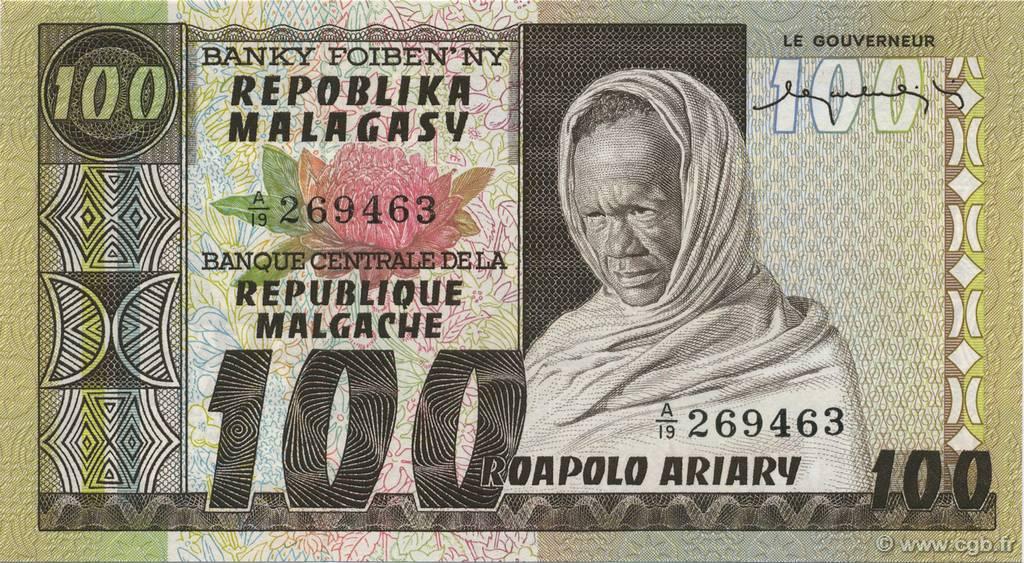 100 francs 20 ariary madagascar 1974 b48 0184 billets. Black Bedroom Furniture Sets. Home Design Ideas