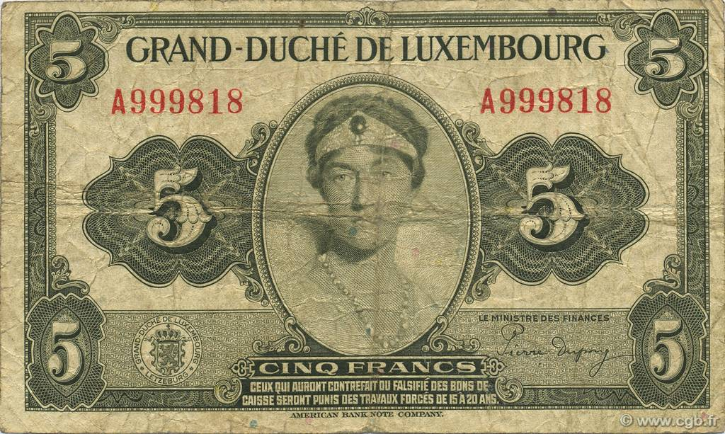 5 Francs LUXEMBOURG  1944 P.43b TB+