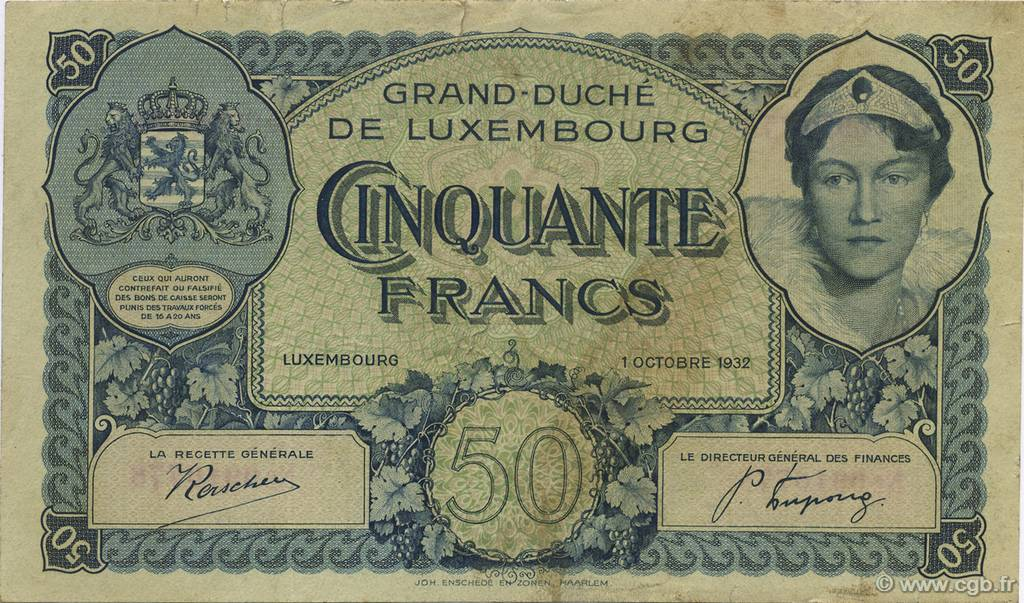 50 Francs LUXEMBOURG  1932 P.38a TB