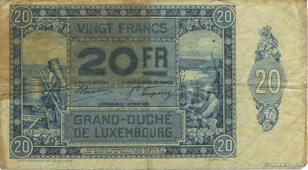 20 Francs LUXEMBOURG  1929 P.37a TB