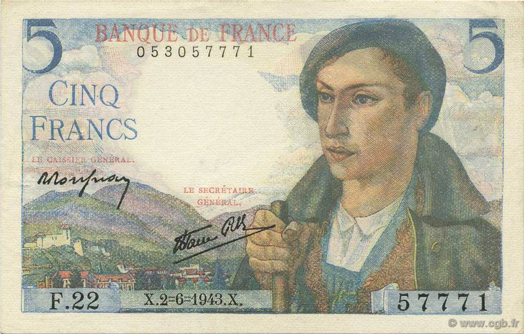5 Francs BERGER  FRANCE  1943 F.05.01 SUP+