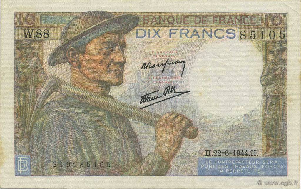 10 Francs MINEUR FRANCE  1944 F.08.12 pr.SUP