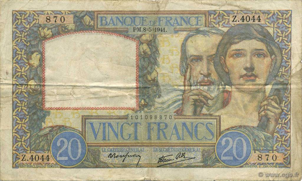 20 Francs SCIENCE ET TRAVAIL FRANCE  1941 F.12.14 TB+