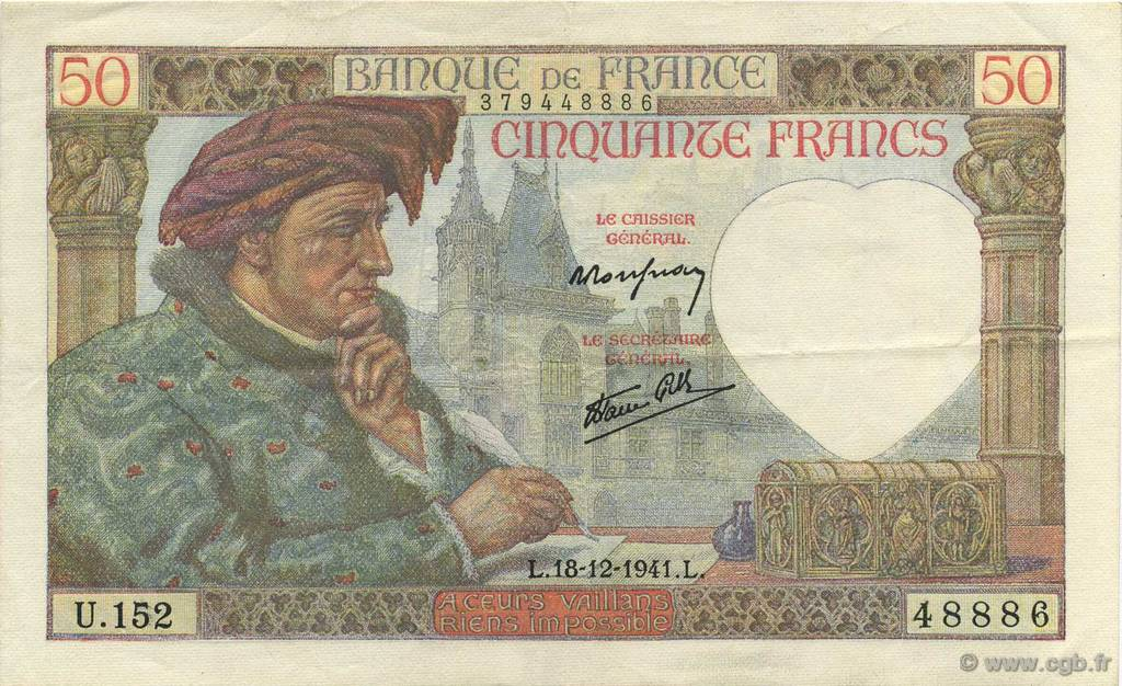50 Francs JACQUES CŒUR FRANCE  1941 F.19.17 pr.SUP