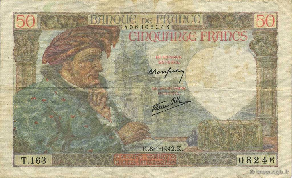 50 Francs JACQUES CŒUR FRANCE  1942 F.19.18 TB+