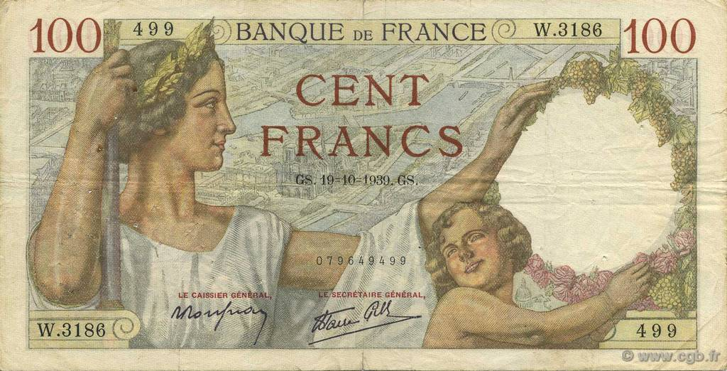 100 Francs SULLY FRANCE  1939 F.26.11 TB+