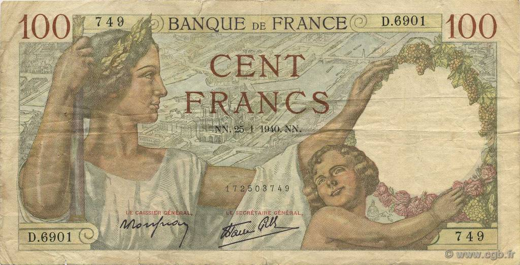 100 Francs SULLY FRANCE  1940 F.26.21 TB+