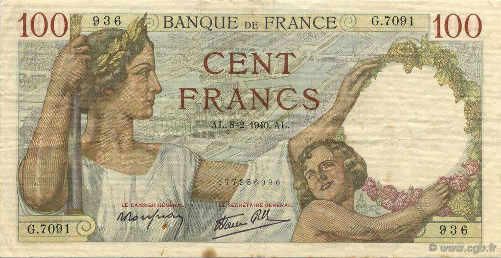 100 Francs SULLY FRANCE  1940 F.26.22 TTB