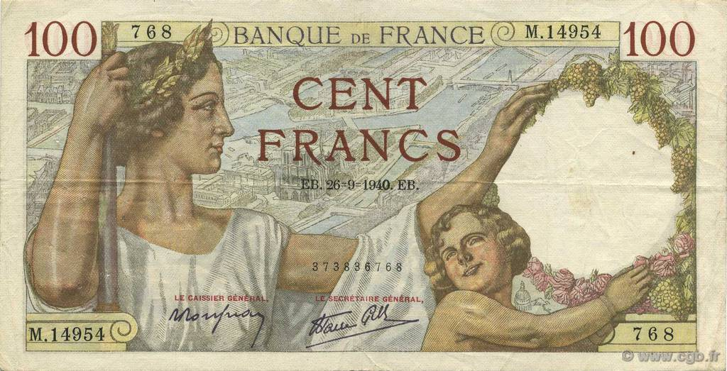 100 Francs SULLY  FRANCE  1940 F.26.38 TTB