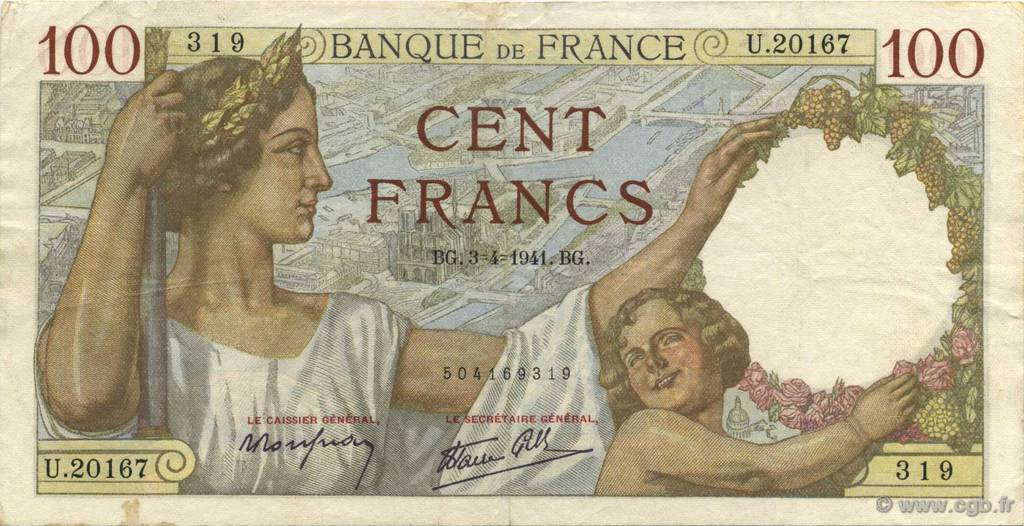 100 Francs SULLY FRANCE  1941 F.26.49 TTB
