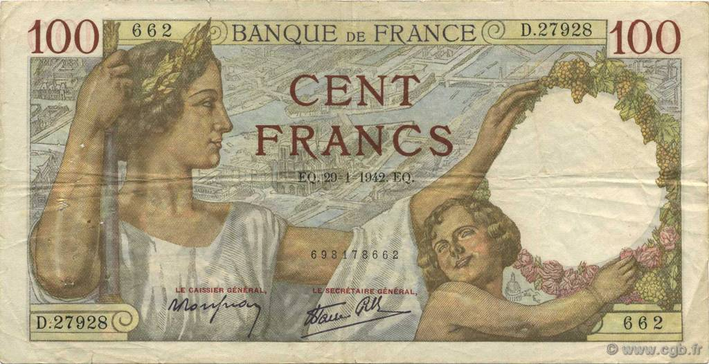 100 Francs SULLY FRANCE  1942 F.26.65 TB+