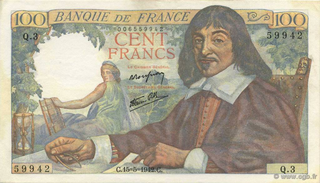 100 Francs DESCARTES FRANCE  1942 F.27.01 pr.SPL