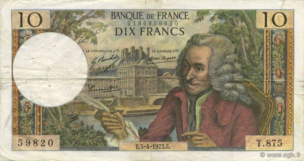 10 Francs VOLTAIRE FRANCE  1973 F.62.61 TB+