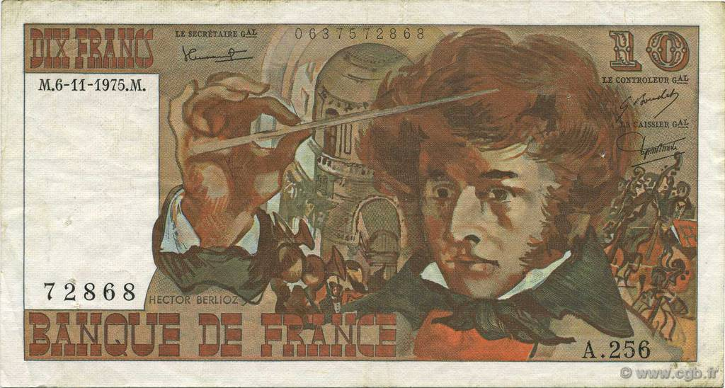 10 Francs BERLIOZ FRANCE  1975 F.63.14