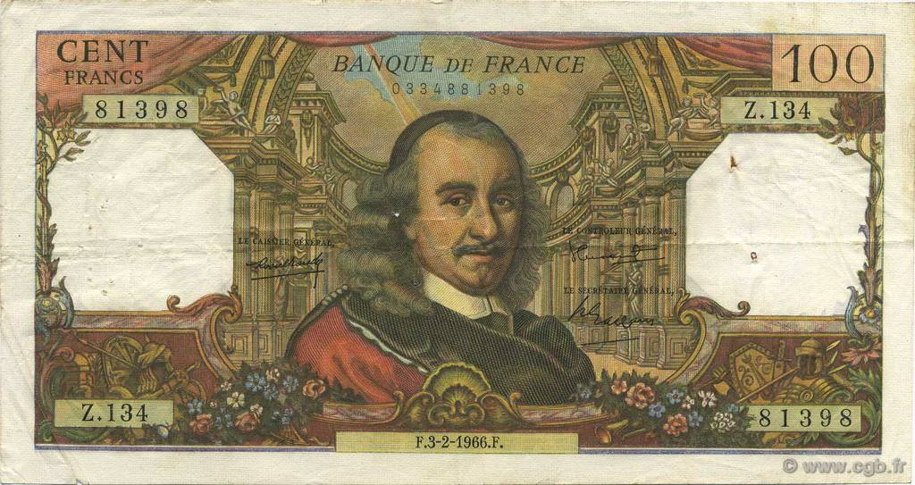 100 Francs CORNEILLE FRANCE  1966 F.65.11 pr.TTB