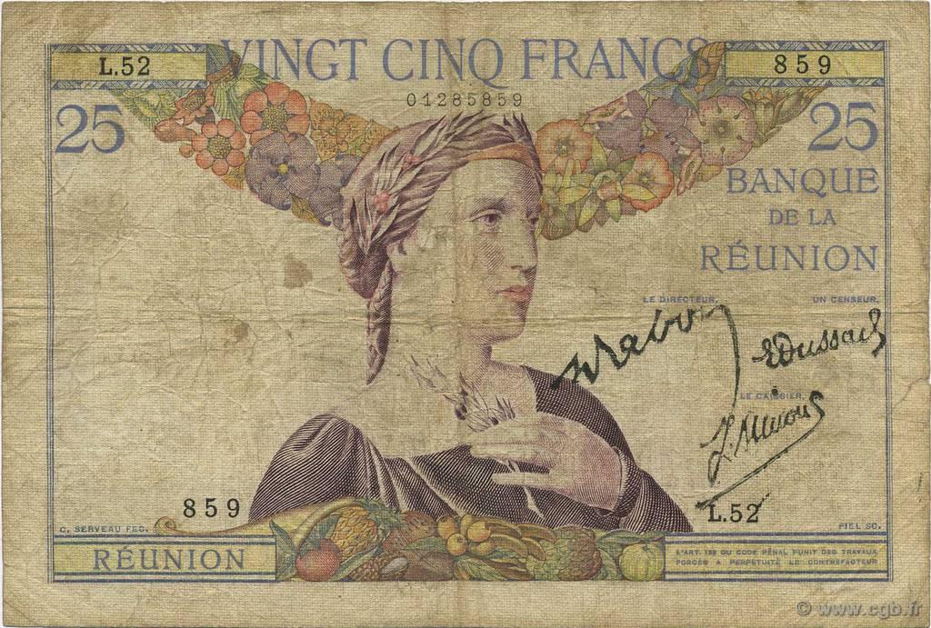 25 francs le de la r union 1944 b b51 0930 billets. Black Bedroom Furniture Sets. Home Design Ideas