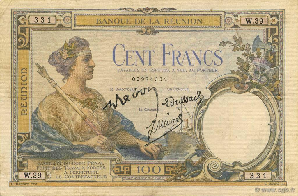 100 francs le de la r union 1944 b51 0932 billets. Black Bedroom Furniture Sets. Home Design Ideas