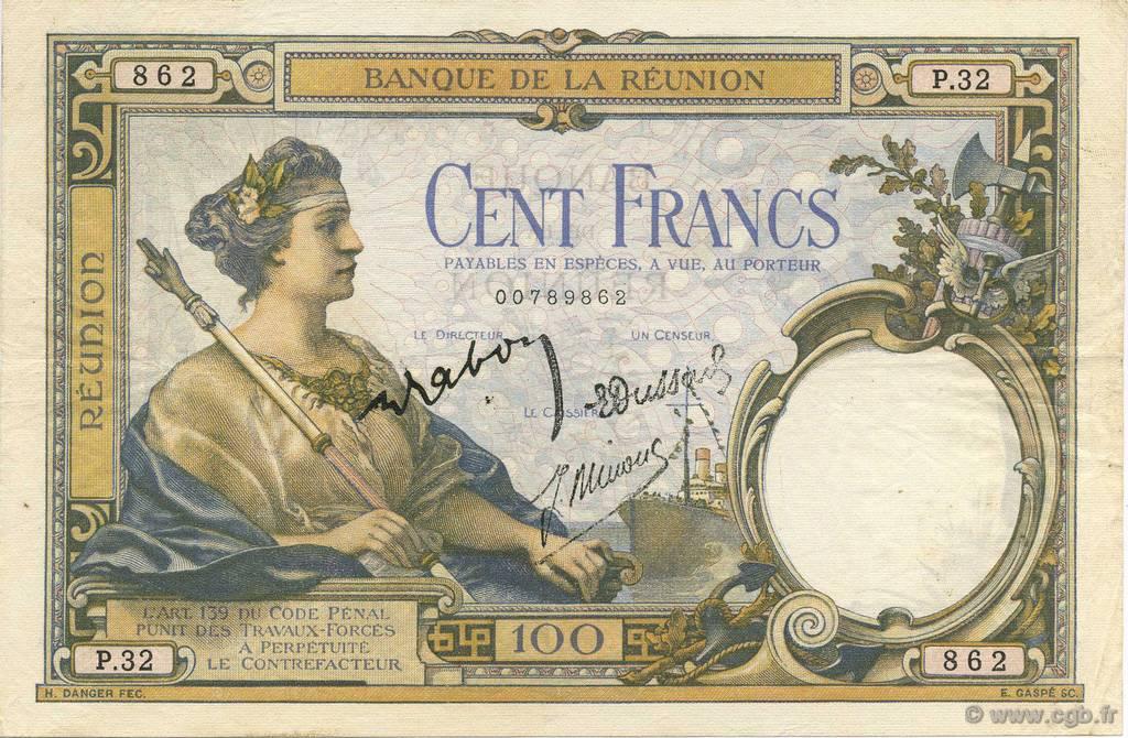 100 francs le de la r union 1944 b51 0933 billets. Black Bedroom Furniture Sets. Home Design Ideas