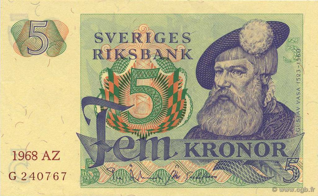 5 Kronor SUÈDE  1968 P.51a NEUF