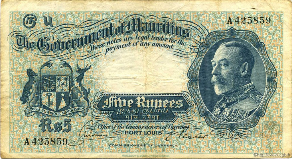 5 Rupees ÎLE MAURICE  1930 P.20 TB