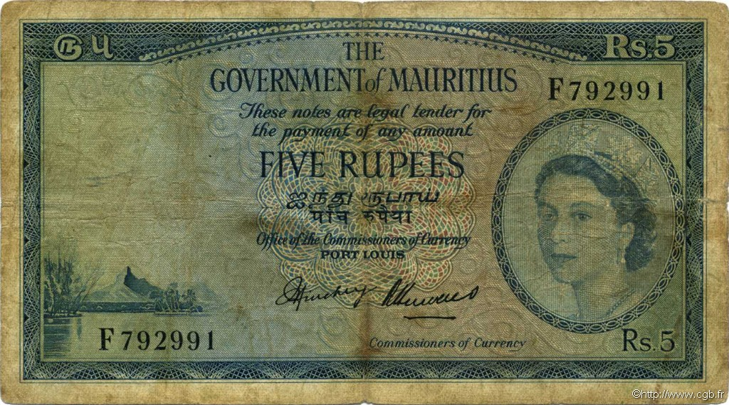 5 Rupees ÎLE MAURICE  1954 P.27 B+
