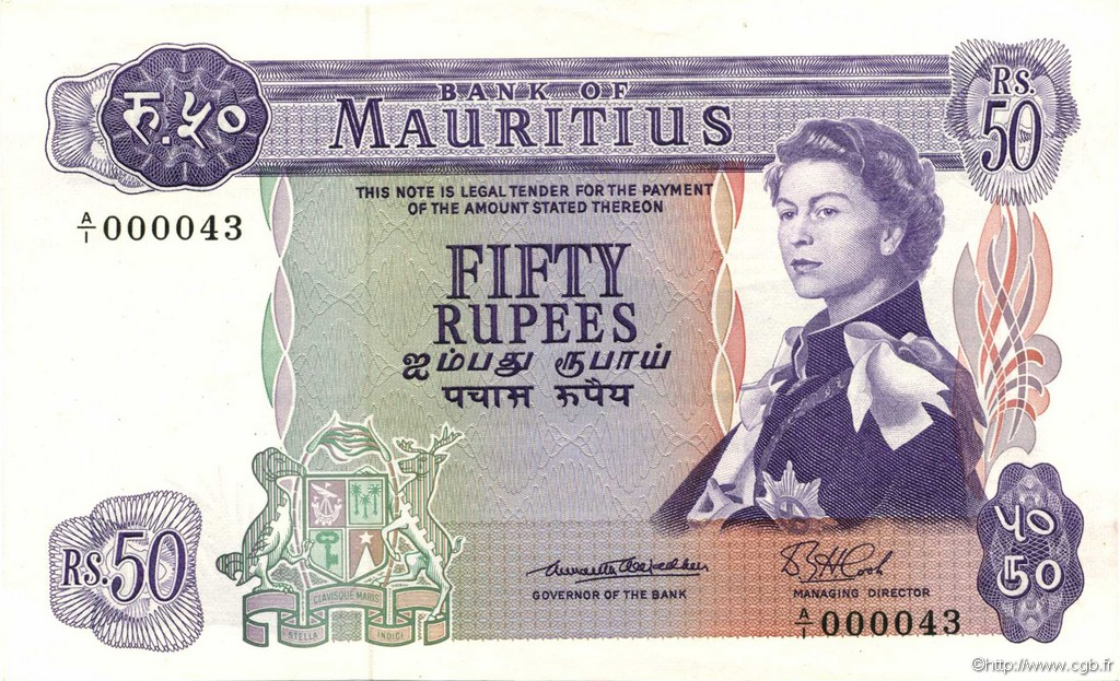 50 Rupees ÎLE MAURICE  1967 P.33a NEUF
