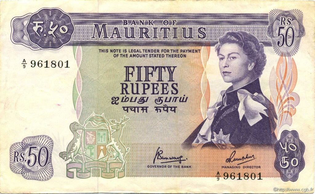 50 Rupees ÎLE MAURICE  1967 P.33c SUP