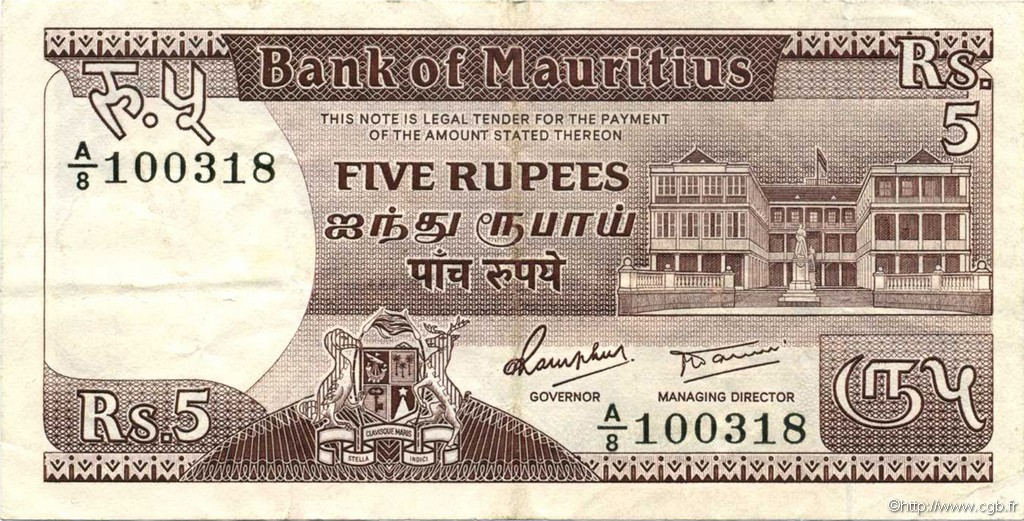 5 Rupees ÎLE MAURICE  1985 P.34 SUP