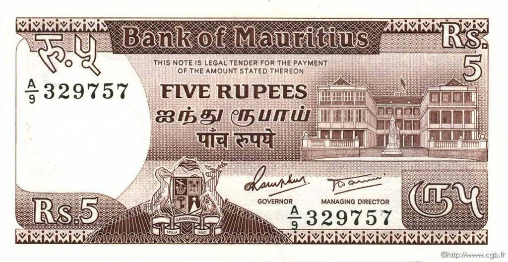 5 Rupees ÎLE MAURICE  1985 P.34