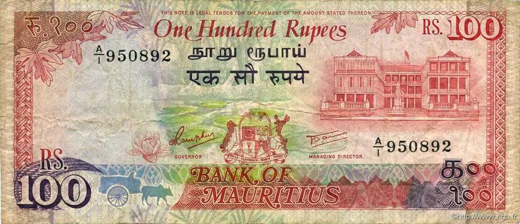 100 Rupees ÎLE MAURICE  1986 P.38 TB