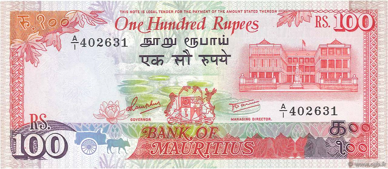 100 Rupees ÎLE MAURICE  1986 P.38 NEUF