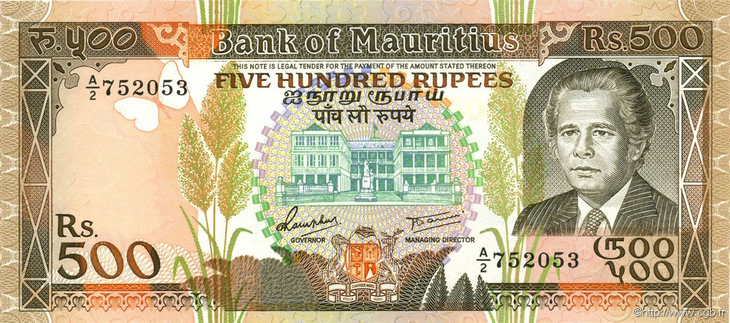 500 Rupees ÎLE MAURICE  1988 P.40a NEUF