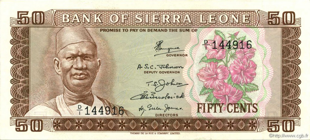 50 Cents SIERRA LEONE  1972 P.04a SPL