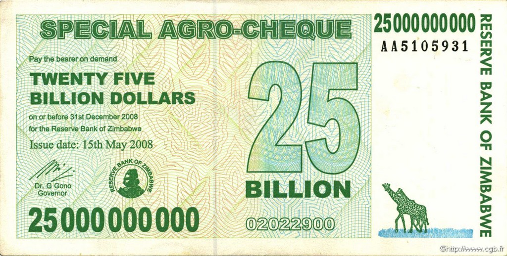 25 Billion Dollars ZIMBABWE  2008 P.62 TTB+