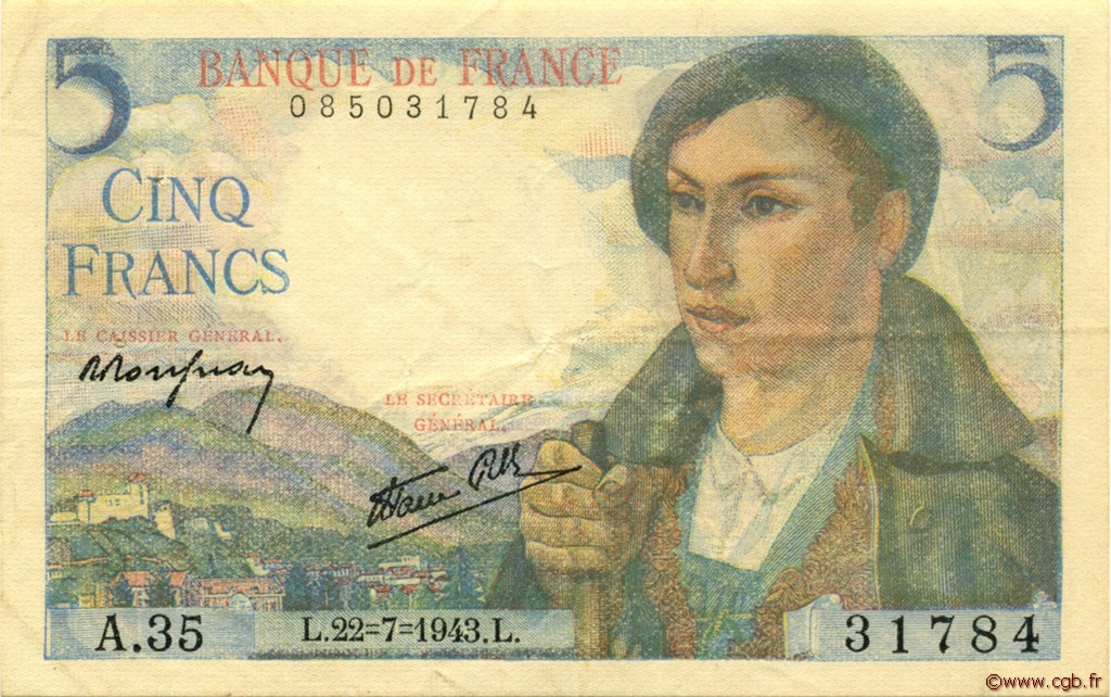 5 Francs BERGER FRANCE  1943 F.05.02 pr.SUP