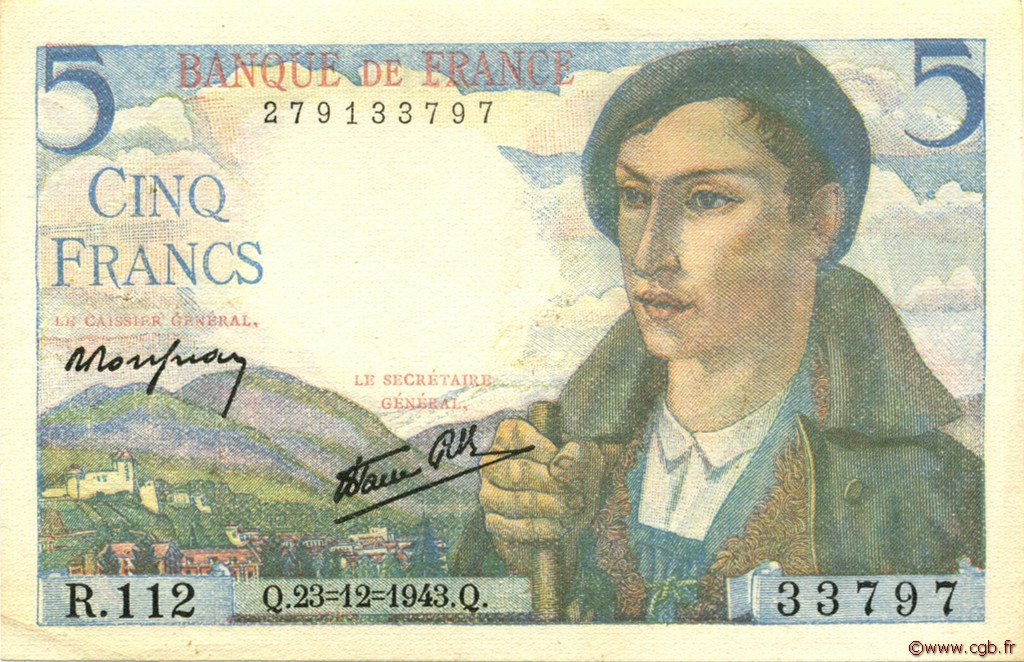 5 Francs BERGER FRANCE  1943 F.05.05 SUP+