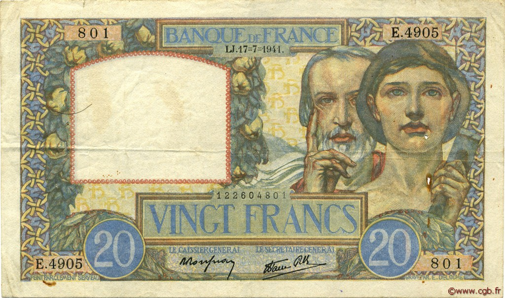 20 Francs SCIENCE ET TRAVAIL FRANCE  1941 F.12.16 pr.TTB