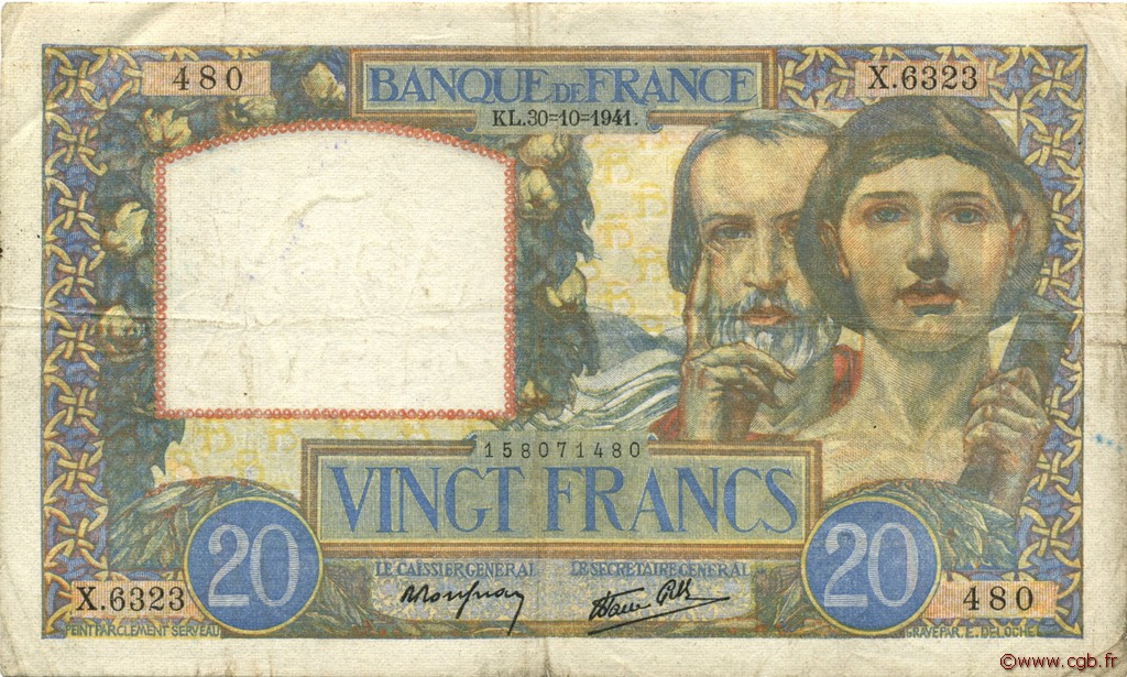 20 Francs SCIENCE ET TRAVAIL FRANCE  1941 F.12.19 TB+