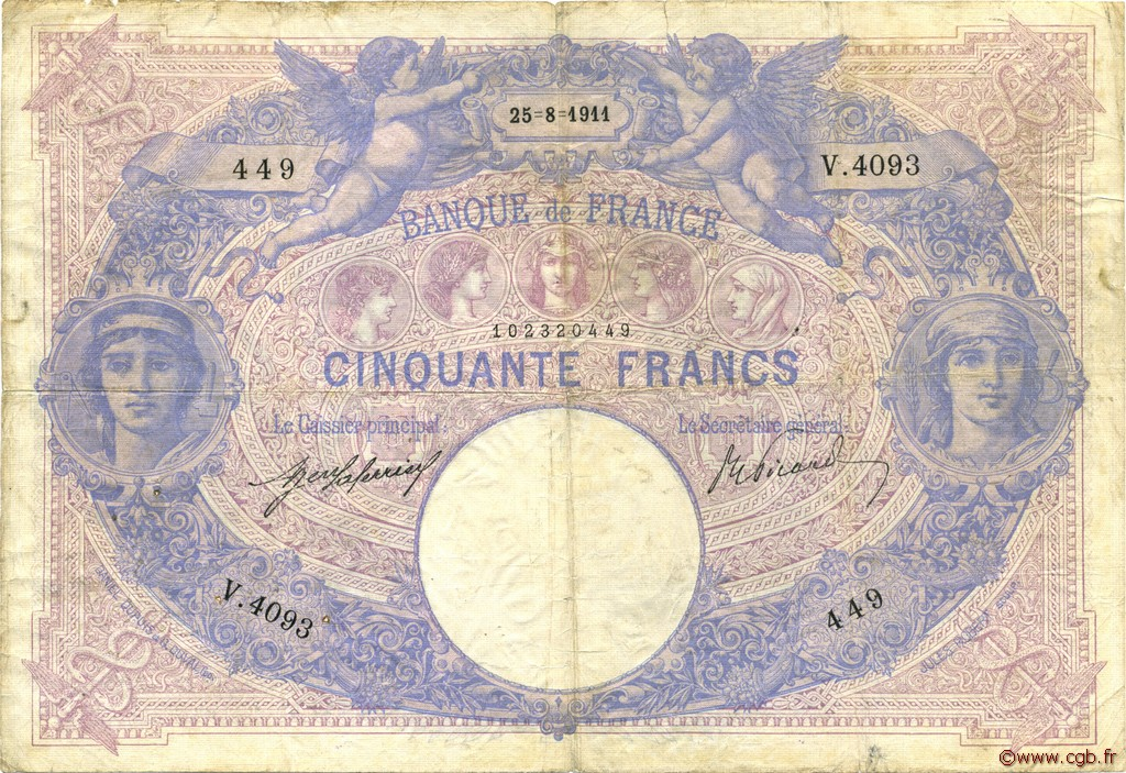 50 Francs BLEU ET ROSE FRANCE  1911 F.14.24 B à TB
