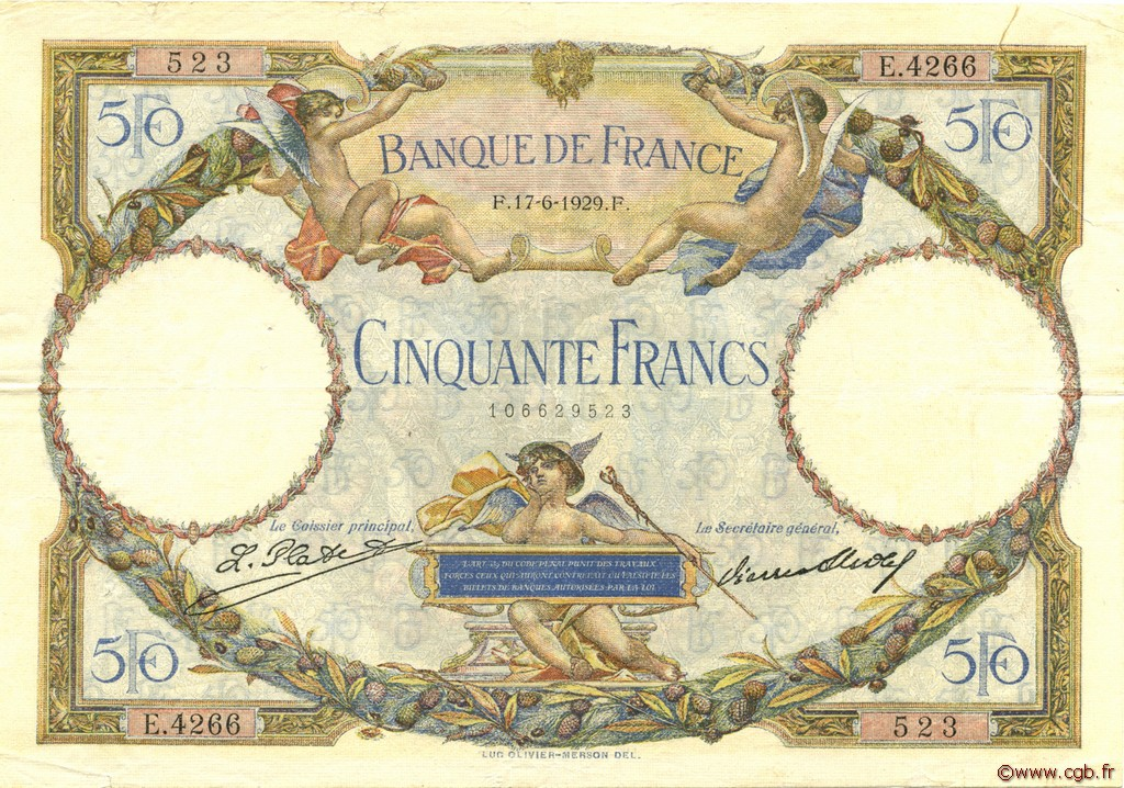 50 Francs LUC OLIVIER MERSON FRANCE  1929 F.15.03 TB+