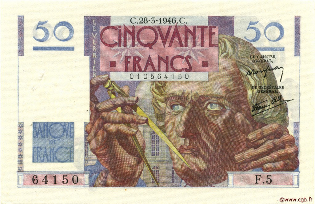 50 Francs LE VERRIER FRANCE  1946 F.20.02 SUP