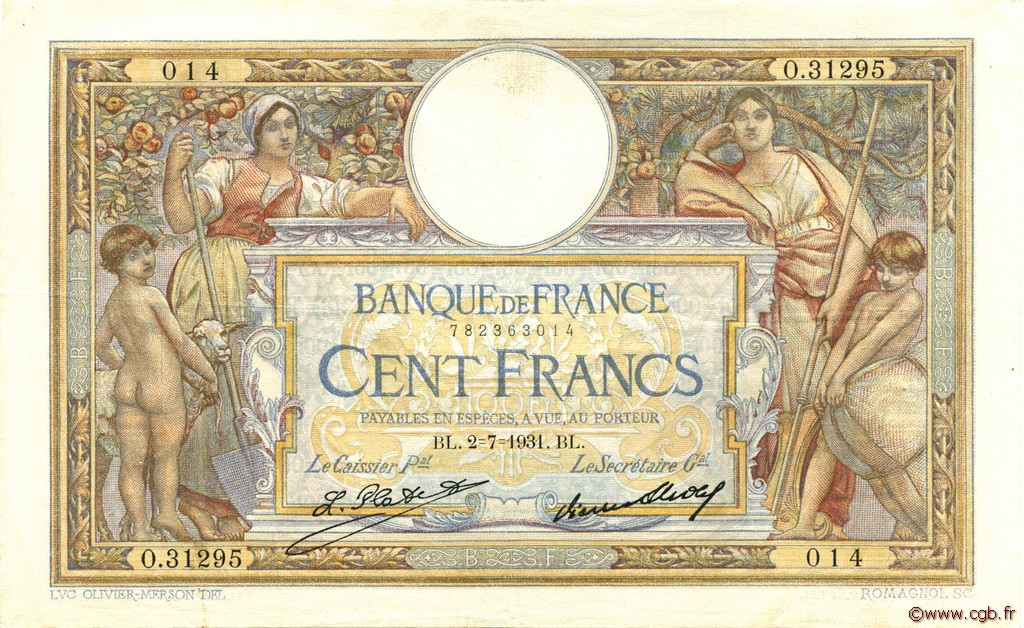 100 Francs LUC OLIVIER MERSON grands cartouches FRANCE  1931 F.24.10 TTB+
