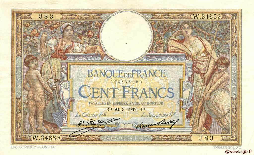 100 Francs LUC OLIVIER MERSON grands cartouches FRANCE  1932 F.24.11 SUP