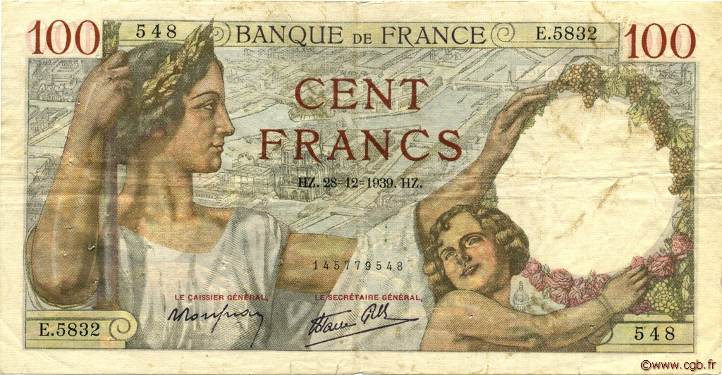 100 Francs SULLY FRANCE  1939 F.26.19 TB+