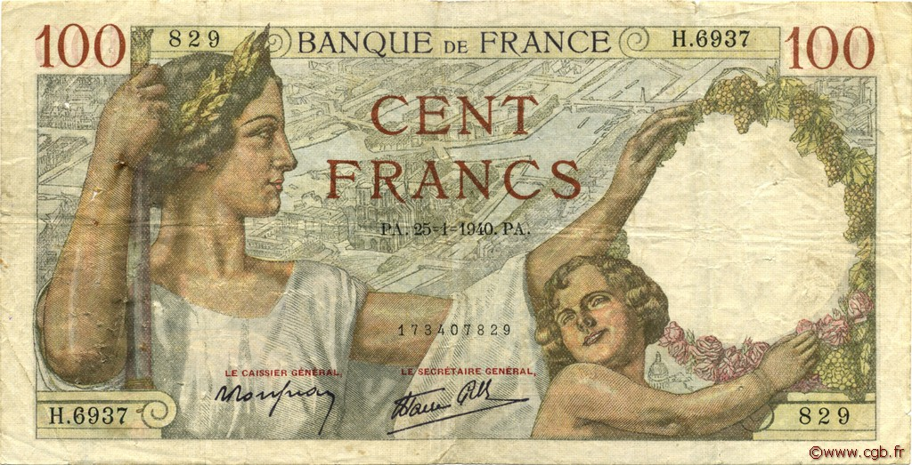100 Francs SULLY FRANCE  1940 F.26.21 TB