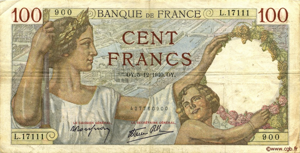 100 Francs SULLY FRANCE  1940 F.26.42 TTB
